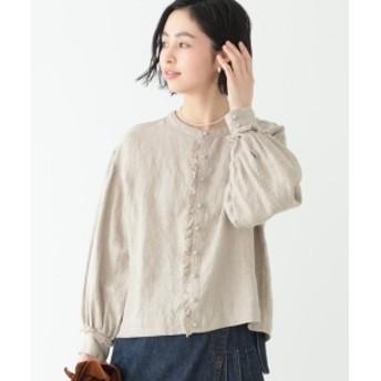 BEAMS BOY / リネン ファーマー 7分袖 シャツ レディース カジュアルシャツ BEIGE ONE SIZE