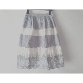 【中古】 チェスティ Chesty スカート サイズ0 XS レディース 白 黒 イエロー ストライプ/刺繍