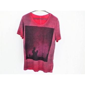【中古】 ディーゼル DIESEL 半袖Tシャツ サイズS メンズ レッド ダークグレー 黒