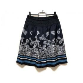 【中古】 ボディドレッシングデラックス スカート サイズ36 S レディース ダークネイビー 白 ブルー