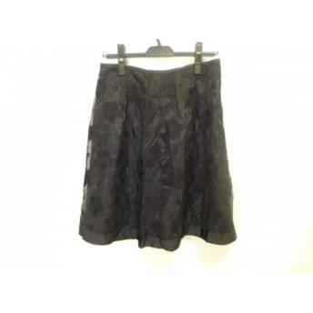 【中古】 スーパービューティー SUPERBEAUTY スカート サイズ42 L レディース 美品 黒 フラワー/刺繍