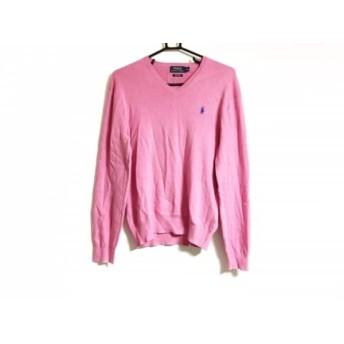 【中古】 ポロラルフローレン POLObyRalphLauren 長袖セーター サイズS メンズ ピンク Vネック