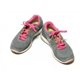 【中古】 ナイキ NIKE スニーカー 24.5 レディース 487974-007 グレー ピンク イエロー 化学繊維