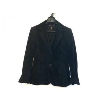 【中古】 イネド INED ジャケット サイズ9 M レディース 美品 黒 シルバー ストライプ/ラメ