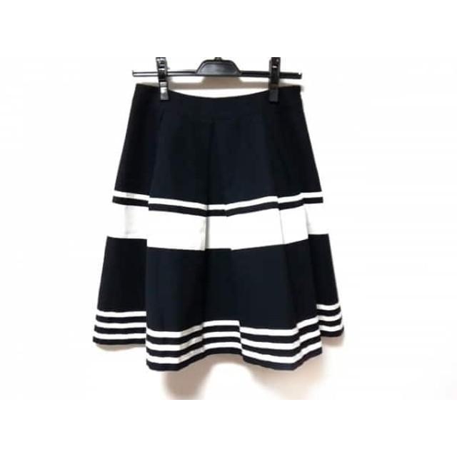 【中古】 エムズグレイシー M'S GRACY スカート サイズ38 M レディース ダークネイビー 白 ボーダー