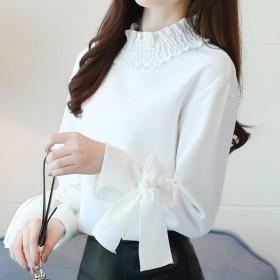 シャツ - Miniministore 波襟 ブラウス OL 袖リボン シャツ ゆったり トップス 可愛い トップス 体型カバー