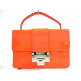 【中古】 ジミーチュウ JIMMY CHOO ハンドバッグ 美品 レベル オレンジ エナメル(レザー) スエード