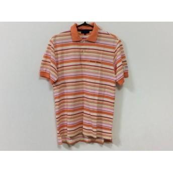 【中古】 パーリーゲイツ 半袖ポロシャツ サイズ4 XL メンズ オレンジ レッド マルチ ボーダー