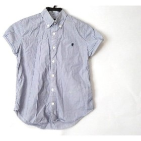 【中古】 ジムフレックス Gymphlex 半袖シャツ サイズ12 メンズ 白 ネイビー ストライプ