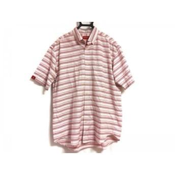 【中古】 マンシングウェア 半袖シャツ サイズL メンズ ピンク 白 ライトブルー SPORTS/ボーダー