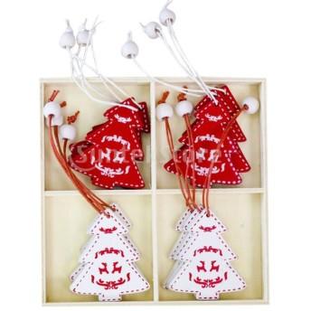 12個入 クリスマス 木製小物 ロープ付き ギフトタグ クリスマスツリーオーナメント 4タイプ選べ - クリスマスツリー