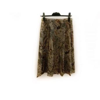 【中古】 スキャパ Scapa スカート サイズ38 L レディース ライトブラウン ボルドー カーキ