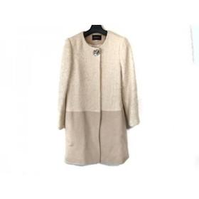 【中古】 ジャスグリッティー JUSGLITTY コート サイズ2 M レディース ピンク 白 冬物/ビジュー