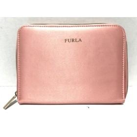 【中古】 フルラ FURLA 財布 ピンク ラウンドファスナー サテン