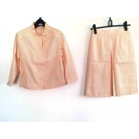 【中古】 クレージュ COURREGES スカートスーツ レディース オレンジ 白 ストライプ