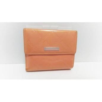 【中古】 ピンキー&ダイアン Pinky & Dianne 3つ折り財布 オレンジ 型押し加工 エナメル(レザー)