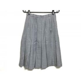【中古】 レリアン Leilian スカート サイズ9 M レディース 白 黒 チェック柄