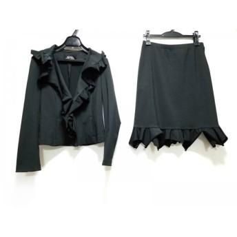 【中古】 シズカコムロ SHIZUKA KOMURO スカートスーツ サイズ40 M レディース 黒 フリル/4298