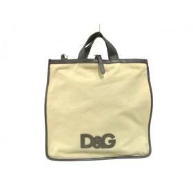 【中古】 ディーアンドジー D & G トートバッグ ベージュ ダークブラウン キャンバス レザー