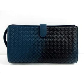 【中古】 ボッテガヴェネタ セカンドバッグ 美品 イントレチャート B07050524C ネイビー 黒 レザー