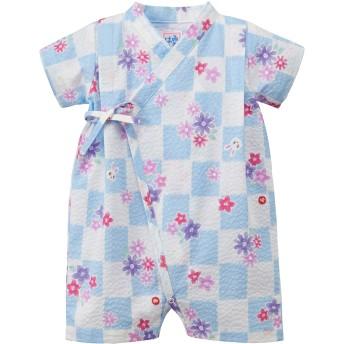 ミキハウス うさこ 市松と花柄甚平オール ブルー