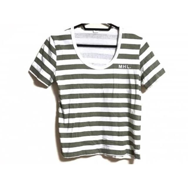 【中古】 マーガレットハウエル MHL. 半袖Tシャツ サイズ2 M レディース アイボリー カーキ ボーダー
