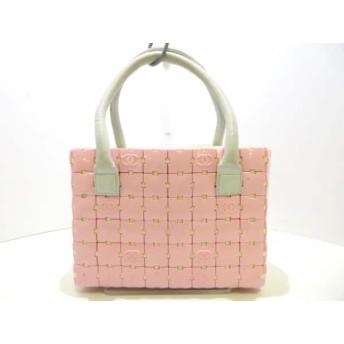 【中古】 シャネル CHANEL トートバッグ パズルバッグ ピンク 白 プラスチック レザー