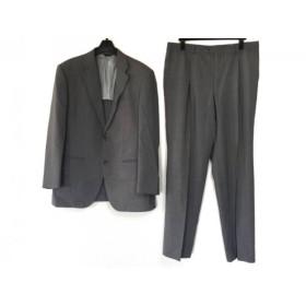 【中古】 ランバンコレクション シングルスーツ サイズR50 メンズ グレー 白 ストライプ