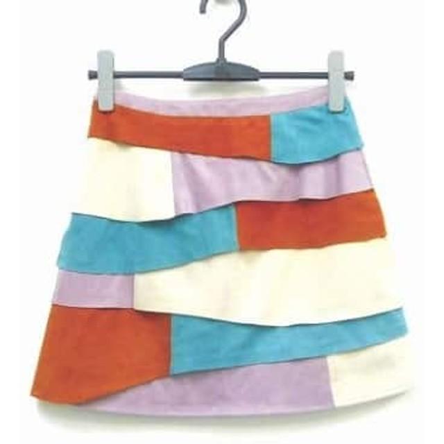 【中古】 リリーブラウン Lily Brown スカート サイズo レディース パープル ブラウン マルチ