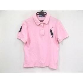 【中古】 ポロラルフローレン 半袖ポロシャツ サイズL レディース ビッグポニー ピンク ダークネイビー