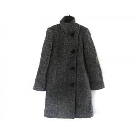 【中古】 ミッシュマッシュ MISCHMASCH コート サイズ38 M レディース 黒 アイボリー 白 冬物/ロング丈