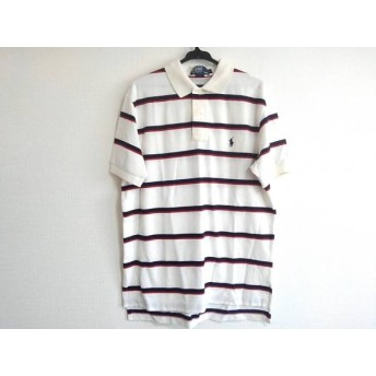 【中古】 ポロラルフローレン 半袖ポロシャツ サイズL メンズ 白 ダークネイビー レッド ボーダー