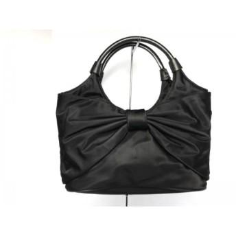 【中古】 ケイトスペード Kate spade ハンドバッグ 美品 黒 リボン/ミニサイズ ナイロン