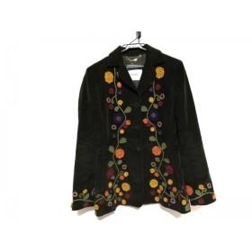 【中古】 モスキーノ MOSCHINO コート サイズ42 M レディース カーキ マルチ 刺繍/肩パッド/フラワー