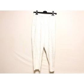 【中古】 ミズイロインド mizuiro ind パンツ サイズ2 M レディース 白 グレー ストライプ