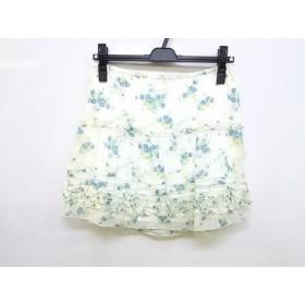 【中古】 アプワイザーリッシェ ミニスカート サイズ2 M レディース 白 ブルー マルチ 花柄/フリル
