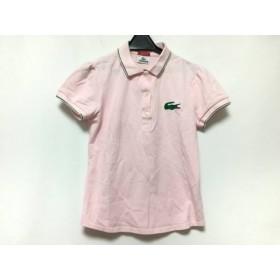 【中古】 ラコステ Lacoste 半袖ポロシャツ サイズ42 L レディース 美品 ピンク グリーン ラメ