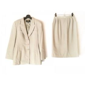 【中古】 レリアン Leilian スカートスーツ サイズ9 M レディース 美品 ベージュ 肩パッド/薄手