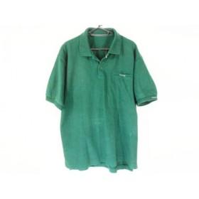 【中古】 パパス Papas 半袖ポロシャツ サイズL メンズ ダークグリーン