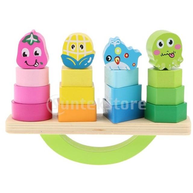 B Baosity 子供 赤ちゃん モンテッソーリ ブロック 積み重ね ボード 木製 形状、色  知育玩具