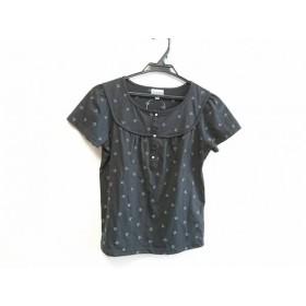【中古】 ホコモモラ 半袖カットソー サイズ40 XL レディース 美品 黒 ライトブルー フェイクパール/刺繍