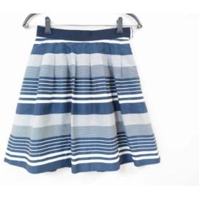 【中古】 エストネーション スカート サイズ36 S レディース 美品 ネイビー アイボリー ボーダー