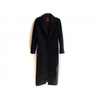 【中古】 ボッシュ BOSCH コート サイズ38 M レディース 黒 ファー/肩パッド/冬物 毛ナイロンカシミヤ