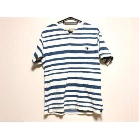 【中古】 カンタベリーオブニュージーランド 半袖Tシャツ サイズM メンズ 白 ブルー ボーダー