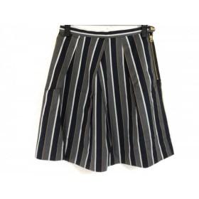 【中古】 リエス スカート サイズ2 M レディース 美品 ダークネイビー ダークグレー マルチ ストライプ