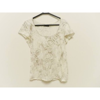 【中古】 ゴア G.O.A/goa 半袖Tシャツ サイズF レディース 白 ダークブラウン ペイズリー柄/ダメージ加工