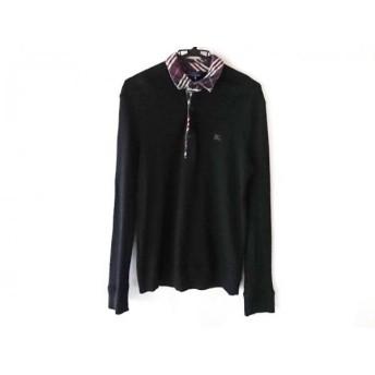 【中古】 バーバリーブルーレーベル 長袖ポロシャツ サイズL メンズ 黒 白 ピンク ニット
