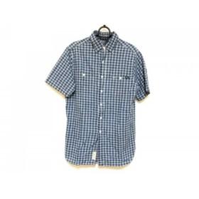 【中古】 ポロラルフローレン POLObyRalphLauren 半袖シャツ サイズS メンズ ブルー 白 チェック柄