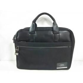 【中古】 サムソナイト Samsonite ビジネスバッグ 黒 レザー 化学繊維