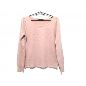 【中古】 スウィングル 長袖セーター サイズ1 S レディース 美品 ピンク ゴールド シースルー/リボン